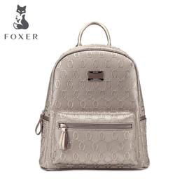 2019 sacs scolaires grand cuir pu Vente en gros FOXER Girls Cow en cuir Sac à dos cartable dames femmes grand style sacs scolaires grand cuir pu pas cher