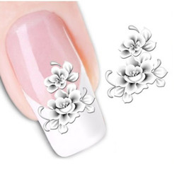 Wholesale Tattoo White Tips - Wholesale- 1sheets Fashion White Flower Beauty Polish Items Nail Art Decals French Tips Water Transfer Tattoos Stickers Nail Tools STZ-048