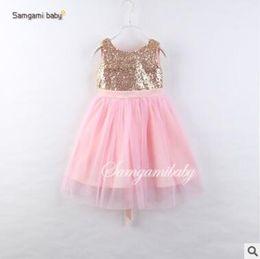 Wholesale Organic Back - Baby Girl Dress 2017 Girls Summer Dresses Sequins V Back Bow Sleeveless Princess Dresses for Kids Tulle Dress Baby Clothes tutu Dress