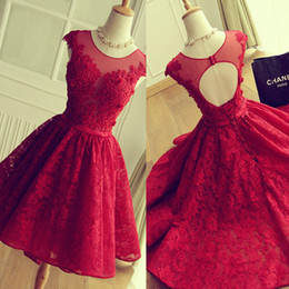 Wholesale Adorable Blue Prom Dresses - Adorable Mini-length Red Short Lace Homecoming Dress Applique with Crystals Short Prom Dress Corset Back Party Dresses