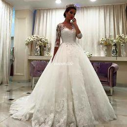 Wholesale Bateau Bride Wrap - New Design 2017 Half Sleeves Ball Gown Wedding Dresses Bateau Neck Court Train Lace Appliques Romantic Formal Bride Gowns Plus Size Vintage