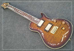 Wholesale ems electric guitars - Shell Mosaic refers to the plate and the body OEM Electric Guitar top mahogany body water ripple surface EMS ship