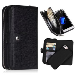 Wholesale iphone 5c leather wallet - For iphone X 4 4s 5 5s SE 5C 6 6S 7 6 PLUS 7 8 PLUS 2 in 1 Detachable Magnet Wallet Leather Zipper Money Pocket Photo Frame case 40pcs lot