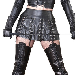 Top-spiele erwachsene online-Fetisch SM Spiel Kostüm Top Qualität PU Leder Rock für Frauen Sexy Lace-up Lady Erotik Kleid Adult Party Night Club Dessous
