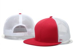 Wholesale New Blank Baseball Hats - New Cheap Blank Mesh Snapabck Caps Hats Baseball Caps Blank Adjustable Cap Flat Brim Hiphop Hat for Men and Women