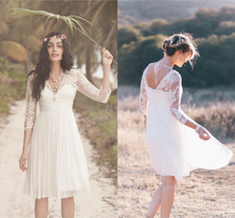 Wholesale Beach T Shirt Vintage - 2017 Boho Short Lace Wedding Dresses with Ivory Sheer 3 4 Long Sleeves V Neck Pleated A-Line Knee Length Chiffon Beach Bridal Gowns
