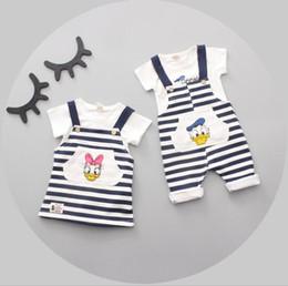 Wholesale Donald Duck T Shirts Kids - Baby Boys Girls Sets Cartoon Donald Duck T-shirt Rompers Girls Daisy T-shirt Striped Pants 2pcs Suits 2017 Summer Kids Clothing 155