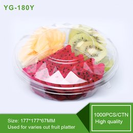 Wholesale Disposable Blister Pack - YG-180Y Top grade 3 compartments disposable plastsic cut fruit box with cover blister salad packing container with lid