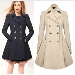 Wholesale England Women Coat - Women's Double Breasted Trench Coat Slim Real Trench Long Jacket Overcoat Outwear Black Navy Beige