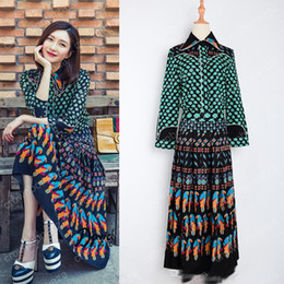 Wholesale Twin Set Dresses - S-3XL Top Fashion Women's Summer Vintage Bohemian Outfit Printed Blouse Long Skirt Runway 2 Piece Set Retro Twin Set tracksuit