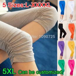 Wholesale Plus Size Capri Leggings - Wholesale- 2017 Spring Summer Super-elastic Solid Candy colors Women Leggings Ladies' Female Plus Big size XXXL XXXXL 4XL Capri Feet pants