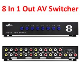 Wholesale Av Switches - 8 Ports Composite 3 RCA Video Audio AV Switch Switcher Box Selector 8 In 1 Out 8 x 1 for HDTV LCD Projector DVD