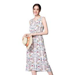 Wholesale Ladies Tea Length Casual Dresses - Summer Women's Vintage Floral Printing Sexy Bohemian Style Small Beachwear Bathingsuit Casual Tea Length Dress for Ladies