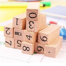 Wholesale Wooden Alphabet Stamp - Wholesale- Anglais Cursive Digital English Stamp Wooden AlPhaBet Digital And Letters Seal Set Standardized Stamps 12 small wooden figures