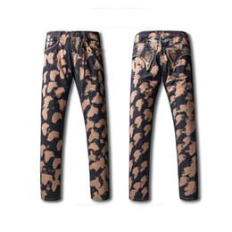 Wholesale Cheap Men Designer Jeans - Cheap Mens Robins Jeans High Quality Embroided Rhinestone Pocket Elastic Jeans Straight Denim Cowboy Luxury Designer Mens Pants Brown