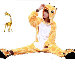 Wholesale Conjoined Cartoon Pajamas - Comfortable flannel pajamas cartoon style giraffe conjoined pajama for men and women all appropriate Cosplay