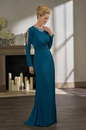 Wholesale Turquoise Green Satin Dress - Elegant Turquoise Long Sleeve Mermaid Mother Of The Bride Dresses Plus Size Pleat Beaded backless Formal Evening Wear