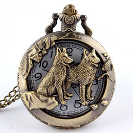 Wholesale Women Antique Pocket Watches - Wholesale-Free shipping Bronze Wolf Hollow Quartz Pocket Watch Necklace Pendant Women Men's Gifts P256