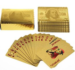 Wholesale Playing Card Plates - new Luxury Full Gold of Poker Deck of Foil Dollar Style Plating Poker Playing Cards 24K Gold Foil Plated Poker Card Playing Card Game
