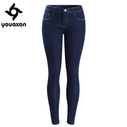Wholesale Dark Blue Jeans For Women - Wholesale- 2092 Youaxon Women`s Basic Dark Blue Mid Low Waist Stretchy Pencil Skinny True Denim Pants Jeans For Women Jean