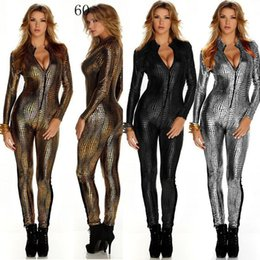 Wholesale Pvc Sexy Outfits - Stage Outfit Faux Leather Snake Print Bodysuits Sexy Night Club Rompers Women Jumpsuits Full Sleeve Full Length Playsuits