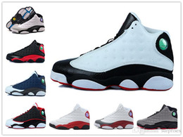 Wholesale Nylons Toes - 2016 cheap new shoes 13s bred XIII mans Basketball Shoes Bred Navy Game hologram grey toe Grey Sneaker Boots.
