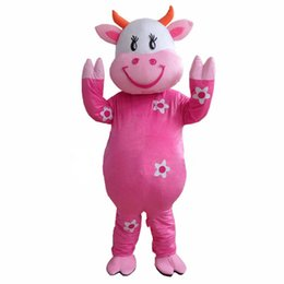 Wholesale Cow Costume Pink - New Hot ! Professional Farm Dairy Cow Mascot costumes Cartoon Fancy Dress Free Shipping