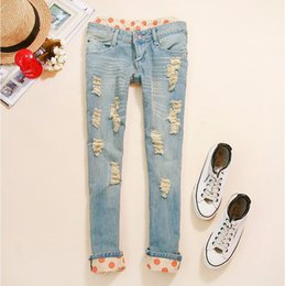 Wholesale Cutout Ripped Denim - Wholesale- Woman Side Bow Cutout Ripped Denim Sexy Jeans Jeggings Trousers