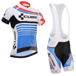 Wholesale cube jersey bib - CUBE team Summer Cycling Jersey short sleeve Breathable Bike Clothing Quick-Dry Bicycle Sportswear Ropa Ciclismo GEL Pad Bike Bib pants B073