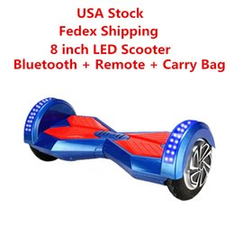 Wholesale Two Wheel Scooter Bag - USA EURO Stock LED Scooters 8 inch Two Wheels Skateboard Hoverboard Bluetooth Remote Carry Bag Smart Scooter Self Balancing Wheel Electric