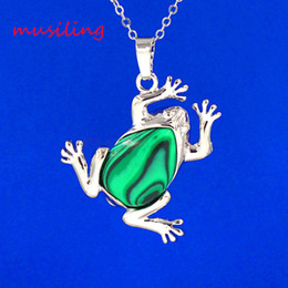 Wholesale Frog Plates - Natural Stone Frog Pendant Necklaces Chain Crystal Pendant Amethyst Opal etc Stone Silver Plated Necklace Chain Accessories Jewelry