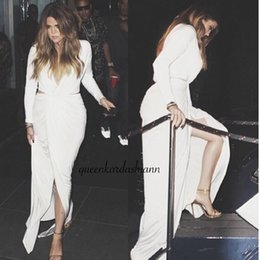 Wholesale Side Bow Cutout - 2018 Hot Sale Sexy white long sleeve Evening Dresses Inspired Khloe Kardashian V Neck Cutout Prom Party Gowns Formal Dress