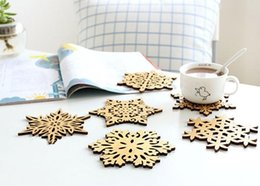 Wholesale Snowflake Cushions - Delicate Wooden Snowflake Cup Mat,Wooden Coffee Cup Cushion Hot Drink Cup Placemat Wooden Coffee Tea Saucer Decor Mats