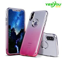 Wholesale Transparent Cases For Phones - For iphone X Case TPU Silicone Gradient Color Transparent Environmental protection PP material Luxury Protector For Apple Cell Phone Cases