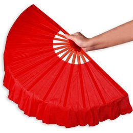 Wholesale Red Hand Fans - 41cm Solid Black Red Folding Hand Fans Craft Dance Performce Wedding Party Souvenir Decoration Supplies ZA4203