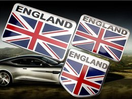 Wholesale Union Cartoons - High Quality Aluminum alloy Sticker England Flag Union Jack Car Motorsport Sticker Label Emblem Badge car styling [three size]