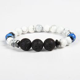Wholesale Celtic Rings For Men - New Designs Mens Bracelets Wholesale 10pcs lot 8mm White Howlite And 12mm Lava Stone Lucky Energy Bracelets For Men
