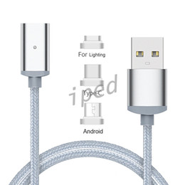 Wholesale Android Magnets - 1M Magnetic Charger Automatic Adsorption Magnetic Cable Micro lighting Type C 3 in 1 For Android Phone Magnetic Magnet Charge Nylon cable