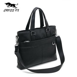 "Wholesale Bag File Briefcase - Wholesale- CROSS OX 2016 Spring New Arrival Men's Genuine Leather Briefcase Handbags For Men Portfolio File Holders 14"" Laptop Bag HB538M"