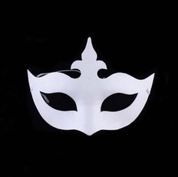 Wholesale Crown Drawing - DIY hand painted Halloween white face mask crown butterfly blank paper mask masquerade cosplay mask kid draw party masks props
