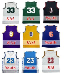 Wholesale Bird Wines - Youth Basketball Jerseys Clothing Kobe,Iverson,Larry Bird Basketball Youth Jersey #8,#2,#23,#3,#6 Shirt Embroidery Logos With Player Name