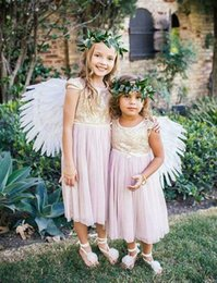 Wholesale Kids Bridesmaid Dresses Short - 2015 Cheap Flower Girls Dresses for Weddings Lilac Chiffon Gold Sequins Jewel A-Line Short Sleeve Junior Bridesmaid Dress Kids Formal Gowns