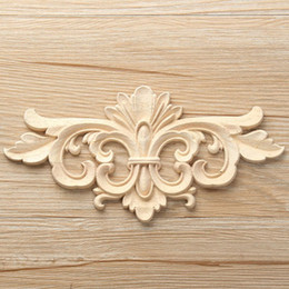 Wholesale Wood Ornaments Furniture - 2 Size Vintage Unpainted Wood Carved Decal Corner Onlay Applique Frame For Home Furniture Wall Cabinet Door Decorative Ornaments Crafts