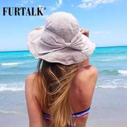 Wholesale Foldable Beach Hats For Women - Wholesale- FURTALK Summer Sun Hats for Women Fashion Design Women Beach Cotton Hat Foldable Brimmed Bucket Hat for Fishing