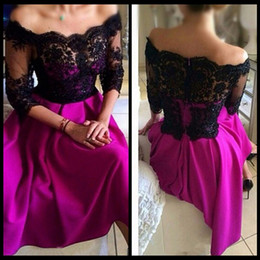Wholesale Three Quarter Sleeve Evening Gowns - Three Quarter Sleeve Prom Dresses Pearl Lace Boat Neck Cut Short Party Dresses for Women A Line Off the Shoulder Evening Party Gowns