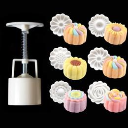 Wholesale Pressure Barrels - NEW 3D Rose Flower Mooncake Mold Hand Pressure Mould 1 Barrel 6 Stamps DIY Cake DecorationTool