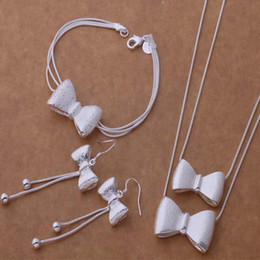 Wholesale Drop Earring Supplies - Women 925 Silver Plated Bowknbot Drop Earring Pendant Necklace Bracelet Jewelry Set Gift Fashion Party Jewelry Accessories Supplies