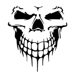 Wholesale Motorcycle Mirrors Skulls - 59CM*55CM Halloween large size skull car sticker Car styling Glue Sticker Motorcycle Auto Reflective Decal