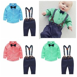 Wholesale Boys 24 Months Jeans - Boy plaid clothing Sets Kids long sleeve bows shirt + suspender jeans 2pc sets Children autumn gentleman clothes 3colors