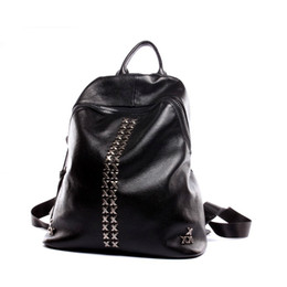 Wholesale Hobo Leather Backpack - 2017 New Rivet Genuine Leather Women's Backpack, Leisure Bag Ladies Leather Bag L6075